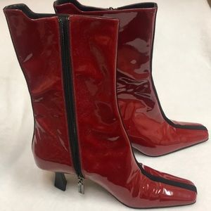 Bruno Magli Boots w triangular heel and black trim